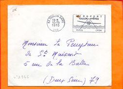 VAR, Toulon, Flamme SCOTEM N° 2346, Aéroport Toulon-Hyeres, Flamme à Droite - Marcophilie (Lettres)
