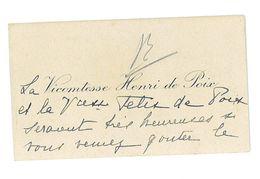 CARTE DE VISITE NOBLESSE LA VICOMTESSE HENRI DE POIX RUEIL - Cartes De Visite