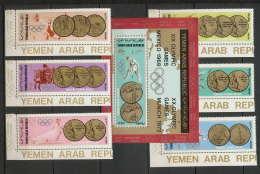 YAR (nord Yemen) - 3599/ N° 796 / 801 + Bloc 79  Jeux Olympiques (olympic Games) 1968 1972  ** MNH - Verano 1968: México