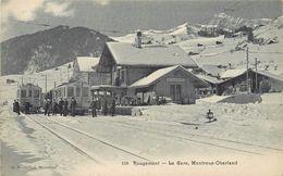 ROUGEMONT - La Gare ,Montreux-Oberland. - Gares - Avec Trains