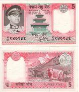 NEPAL   5 Rupees     P23   ND  1974    2 Pinholes    AU/UNC - Nepal
