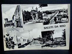 (FG.A26) Saluti Da RHO - VEDUTINE (VIA MEDA, ASILO, PIAZZALE STAZIONE, SANTUARIO, PANORAMA) MILANO - VIAGGIATA 1961 - Rho