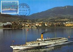 """CARTE MAXIMUM : Vevey Le Bateau-salon """"la Suisse"""" Et La Ville - Tres Bon Etat - Postcards"""