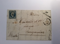 France PC 2931 + Cursive 67 SOUFFLENHEIM RR ! (67 Bas Rhin) Yv. 14 Lettre 1854 > Sarreguemines, Moselle (Brief Cover - 1849-1876: Klassik