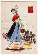 Folklore : Costumes Régions : Poitou : Illustré Par R. Margotton ( Peinte à La Main ) - Cpsm G.F. - Costumes