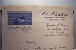 """NAUTISME -- LE """" NAUTICO """"   -- Le Canot à Pédales à  Traction Avant -  AMAR  Ubert  -CAGNES-sur-MER -( Inventeur ) - Sports & Tourisme"""