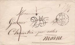 FRANCE-PRECURSEUR / ENV  DE PARIS   POUR CHAINTRIX  (49) Par Vertus (49) DU 3 AOUT 1852 / GRIFFE CHIFFRE TAXE 25 + 5 Déc - Postmark Collection (Covers)