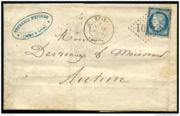 """Lot N°8247e FRANCE - N°60A Avec Variété De Piquage Obl """"""""d'EPINAC 15/MARS/75"""""""" Sur Facture Décorée Pour AUTUN - Peu Comm - 1871-1875 Cérès"""