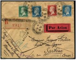 """Lot N°8483 FRANCE - N°171 Et 175/177 Obl Sur Pli Rec. Par Avion """"""""COMPTABILITE REGIONALE MARSEILLE 14/11/28"""""""" Pour SARTE - France"""