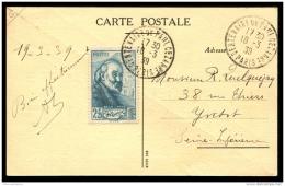 """Lot N°8695 FRANCE - N°421 Obl Càd """"""""CENTENAIRE DE PAUL CEZANNE 18/3/39"""""""" Sur Carte Postale Correspondante Adressé à YVET - Covers & Documents"""