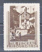 TIR FEDERAL - FRIBOURG 1934 - A.GENOUD - V/IMAGE - Erinnophilie