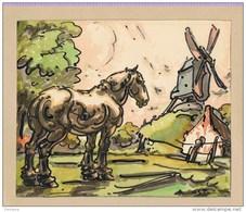 Alfred Ost, Paard En Molen,origineel Aquarel /waterverf,A.Ost Gesigneerd, 19.8 Cm Op 16.3 Cm, Op Papier - Aquarel
