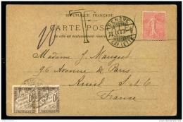 Lot N°9433 SUISSE - CARTE POSTALE - Postée En Suisse Avec Un Timbre Français 10c Rouge Refusé Et Taxée Comme Non Affr. 2 - Suisse