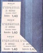 """RECU POUR """" L'IMPARTIAL """" - 1927 - V/IMAGE - Vieux Papiers"""