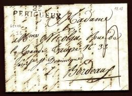 LETTRE PRECURSEUR FRANCE- MARQUE POSTALE : 23- PERIGUEUX -  DE 1815 -  TAXE 4  DECIMES- - 1801-1848: Precursors XIX