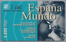 ES.- Telefonica De Espana. I Call Tajetas Telefonicas. Espana Mundo. 1.000 Ptas. Nacional Internacional Desde .. 2 Scans - Spanje