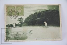 Old 1913 Japan Postcard - River With Fishing Boats In Osaka - Osaka