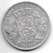 *belguim 5 Francs  Leopold II  1868  Xf !!!! - 1865-1909: Leopold II