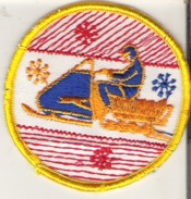 """Snowmobile Patch Badge 7.6 Cm   3""""  Yellow Red Blue - Winter Sports"""