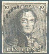 N°1 - Epaulette 10 Centimes Brune, TB Margée, Obl. Légère Dégageant L'effigie.  TB  - 12304A - 1849 Epaulettes