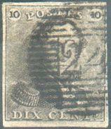 N°1 - Epaulette 10 Centimes Brune, TB Margée, Obl. P.24 BRUXELLES.  TB  - 12306A  VL1099 - 1849 Epaulettes