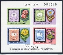 HUNGARY 1974 Stamp Centenary Imperforate Block MNH / **.  Michel Block 105B - Blocks & Sheetlets