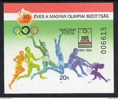 HUNGARY 1985 Olympic Committee Imperforate Block MNH / **.  Michel Block 175B - Blocks & Sheetlets