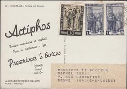 Italie 1955. Carte Publicitaire Du Laboratoire Roger Bellon. Actiphos, Tonique Musculaire Et Cérébral - Pharmacy