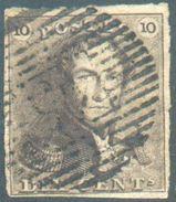 N°1 - Epaulette 10 Centimes Brune, TB Margée, Obl. P.45 GAND.  TB  - 12309A  VL1099 - 1849 Epaulettes