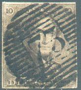 N°1 - Epaulette 10 Centimes Brune, TB Margée, Obl. P.73 LIEGE.  TB  - 12310A  VL1099 - 1849 Epaulettes