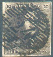 N°1 - Epaulette 10 Centimes Brun , TB Margé, Obl. P.24 BRUXELLES à Chiffres épais.  TB - 12317A - 1849 Epaulettes