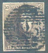 N°1 - Epaulette 10 Centimes Brun ROUX , TB Margé, Obl. P.125 VILVORDE  TB - 12318A - 1849 Epaulettes