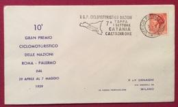 TEMATICA CICLISMO  X GRANPREMIO CICLOMOTORISTICO DELLE NAZIONI 1959  ANNULLO SPECIALE 7 TAPPA  CATANIA CALTAGIRONE - Ciclismo