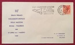 TEMATICA CICLISMO  X GRANPREMIO CICLOMOTORISTICO DELLE NAZIONI 1959  ANNULLO SPECIALE 7 TAPPA  CALTAGIRONE SIRACUSA - Cyclisme