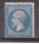 Empire N° 22 , 20 C Bleu  Ob ROULETTE DE POINTILLES , TB Cote 20 Euros - 1862 Napoleon III