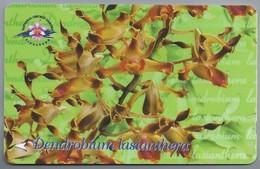 SG.- SINGAPORE TELECOM. $ 10. - Dendrobium Lasianthera.- National Orchid Garden. 154SIGA -. 2 Scans. - Bloemen
