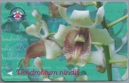 SG.- SINGAPORE TELECOM. $ 20. - Dendrobium Nindii.- National Orchid Garden. - 154SIGB -. 2 Scans. - Bloemen
