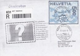 Einschreiben Melchnau. 2000 Naba St. Gallen Stikerei Selbstklebend Mi: 1726 - Posta Aerea