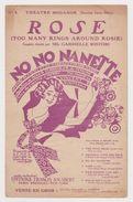 Partition Rose Too Many Rings Around Rosie Couplets Chantés Par Mlle Gabrielle Ristori Théâtre Mogador 1926 - Opern