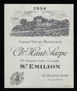 Etiquette Vin  Chateau Haut Sarpe  1er Grand Cru Classé Saint Emilion  1934 J Janoueix Propriétaire - Bordeaux