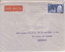 = Enveloppe De Saint Denis Réunion 25.1.51 à Bordeaux Timbre N°302 Abbaye De Saint Wandrille 8f CFA Sur 25f - Covers & Documents