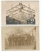 2 Cartes Photos Construction D'une Toiture - Autres