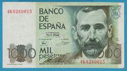 ESPANA 1000 Pesetas 23.10.1979 Serie 4K826  P# 158 Benito Pérez Galdos - [ 4] 1975-… : Juan Carlos I