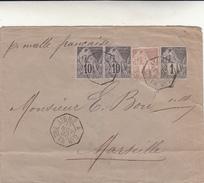 Saint Pierre Martinique To Marseille. Cover Avec Timbres Ligne A Paq. Fr. N°2 Anno 1892 - Non Classés