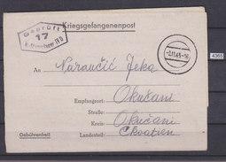 GERMANY 1943, POW MAIL, STALAG IV D ( 4 D), TO OKUČANI, CROATIA, CENSOR CANCEL FRONT SIDE, WW2, NAZI ERA, See Scans - Briefe U. Dokumente