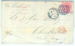 """1870 Schöner Transitbrief Aus Bradford """"via Ostende"""" In Die Schweiz - Randmarke - 1840-1901 (Viktoria)"""