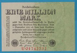 DEUTSCHES REICH 1 Million Mark 09.08.1923  SERIE U.01742732  P# 101 - [ 3] 1918-1933 : Weimar Republic