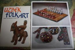 UZBEK FOLK ART Postcards Set  -  12 OLD  Postcard Lot - CHESS  - JEU - ECHECS. 1980s - Echecs