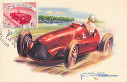 D32016 CARTE MAXIMUM CARD TRIPLE RR 1954 SAN MARINO - RACING CAR CP VINTAGE ORIGINAL - Cars