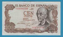 ESPANA 100 Pesetas Manuel De Falla 17.11.1970  Serie 5Z  P# 152 - [ 3] 1936-1975 : Regency Of Franco
